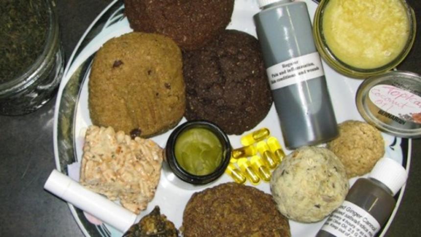 Différents produits fait à partir d'extraits de cannabis